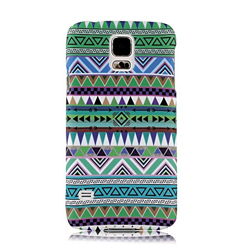 S5 Case, Galaxy S5 Case - Mollycoocle Fashion Style Colorful Painted Pattern Pc Hard Cover Case For Samsung Galaxy S5 I9600 Sm-G900A Sm-G900T Sm-G900P Sm-G900V Sm-G900R4 Developer Edition(Green Tribal Pattern)