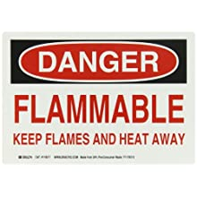 "Brady Red And Black On White Color Sustainable Safety Sign, Legend ""Danger Flammable Keep Flames And Heat Away"""