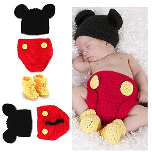 LifeJoy Photography Prop Baby Costume Crochet Knitted Clothes Mouse