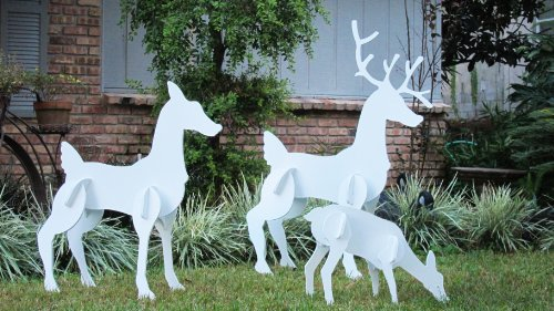 Teak Isle Christmas Outdoor Reindeer Family, Christmas Deer Set