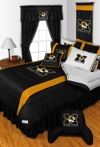 Missouri Tigers 6 Pc TWIN Comforter Set & Set of Two 5 Pc Valance/Drape Sets (Drapes Size 82 X 63) - Entire Set Includes: (1 Comforter, 1 Flat Sheet, 1 Fitted Sheet, 1 Pillow Case, 1 Sham, 1 Bedskirt, 2 Valance/Drape Sets) SAVE BIG ON BUNDLING! fitted sheet 180x200 marie claire fitted sheet 180x200