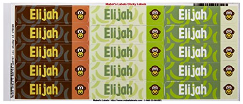 Mabel'S Labels 40845029 Peel And Stick Personalized Labels With The Name Elijah And Monkey Icon, 45-Count front-998544