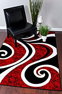 0327 Red White Black Area Rug Abstract Carpet