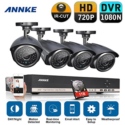 Annke 8CH 1080N DVR Recorder + 4HD 1.3MP Security Cameras with 1TB...
