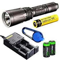 Nitecore SRT7 Revenger (Gray) 960 Lumens XM-L2 LED Built in Red, Green, Blue Lights, Red-Blue Strobe, Variable brightness Flashlight/searchlight with Genuine Nitecore NL186 18650 2600mAh Li-ion rechargeable battery, Nitecore i2 intelligent Charger, Car Charging Cable, Smith & Wesson LED CaraBeamer Clip Light and 2 X EdisonBright CR123A Batteries