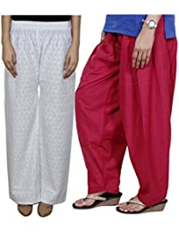 Indistar Women Full Cotton Chikan White Palazzo With Cotton Maroon Seme- Patiala Salwar - Free Size (Pack Of 1...