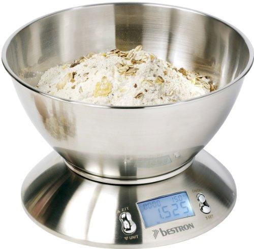 Bestron DEK4150, Bilancia digitale da cucina, in acciaio inox