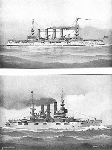 usa-warships-cruiser-milwaukee-battleship-connecticut-launched-1904-1907-old-antique-vintage-print-a