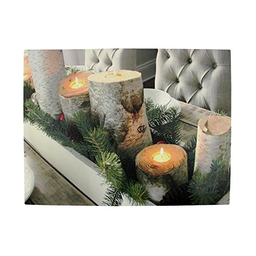 LED Lighted Flickering Rustic Lodge Woodland Birch Candles Christmas Canvas Wall Art 11.75