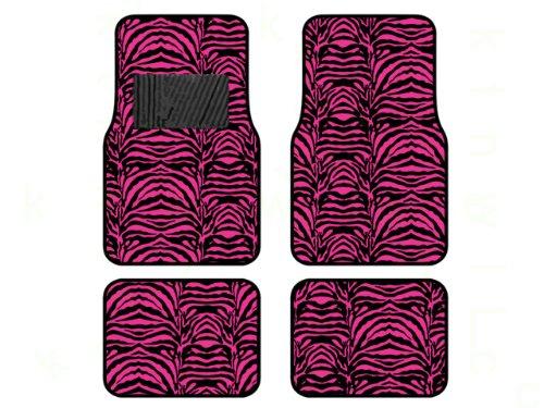 A Set of 4 Universal Fit Safari Animal Print Carpet Floor Mats - Hot Pink Zebra