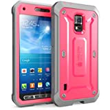 SUPCASE Unicorn Beetle PRO Series Full-body Rugged Hybrid Case with Built-in Screen Protector for Galaxy S5 Active (SM-G870A Water and Shock Resistant Version Smartphone), Pink/Gray