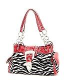 Red & White Zebra Print Rhinestone Buckle Croco Trim Purse