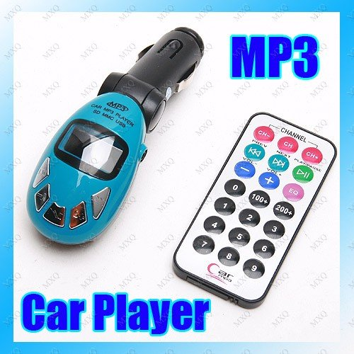 Wireless In Car Fm Transmitter With Remote (Blue)