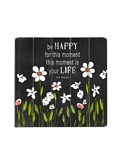 ArteHouse Be Happy Wood Wall Décor, Black/White