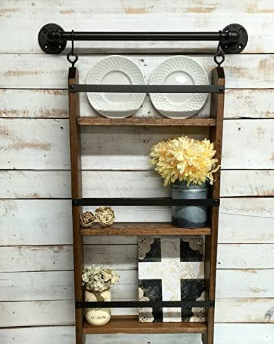 Amazon Rustic Ladder Shelf Rustic shelf with hooks rustic farmhouse sh