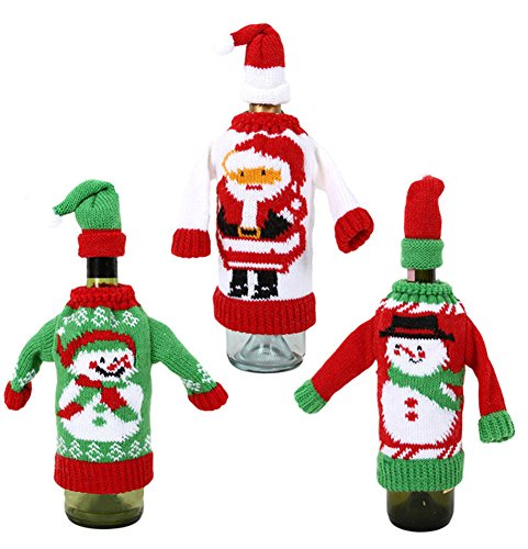 Knit Sweater Holiday Wine Bottle Covers-Set of Three