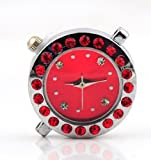 Red Stainless Steel Quartz Watch Faces with Colour Diamante Craft DIY for Shamballa Bracelets