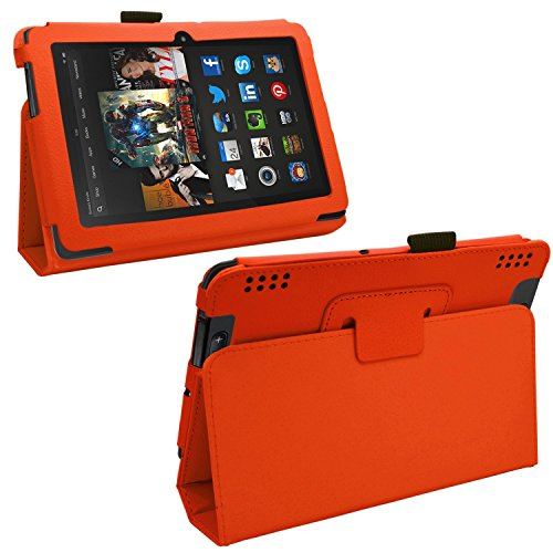 """Samrick - Amazon Kindle Fire Hdx 7"""" Inch - Executive Specially Designed Leather Book Folio Wallet Case With Exclusive Viewing Stand & Screen Protector/Foil/Film/Guard & Microfibre Cloth & High Capacitive Stylus Pen - Orange"""
