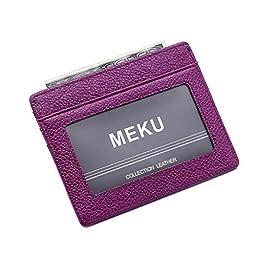 MEKU Slim Front Pocket Leather Wallet Business Credit Card Case Sleeve Minimalist Wallet with ID Window Purple