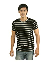 Hypernation Black And White Color Half Sleeves Round Neck T-Shirts For Men