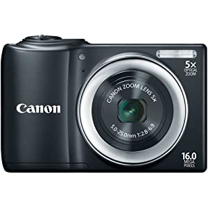 Canon PowerShot A810 16.0 MP Digital Camera with 5x Digital Image Stabilized Zoom 28mm Wide-Angle Lens with 720p HD Video Recording (Black)