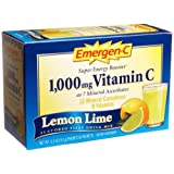 Emergen-C Vitamin C Fizzy Drink Mix, 1000 mg, Lemon-Lime, 0.3 Ounce Packets, 30-Count ~ Emer'gen-C