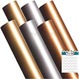 A2G301 12 x 12 Inches Gold Silver Copper 2 sheets of each color Gloss Permanent Outdoor Adhesive Vinyl Sheets Rolls for Personal Craft Vinyl Cutters make Wall Decals Vinyl Lettering Stickers at home