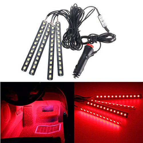 Audew 4 Piece Led Car Atmosphere Light Strips 6 Color Led