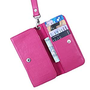Dooda Genuine Leather Wallet Pouch Case For Micromax A68 Smarty (PINK)