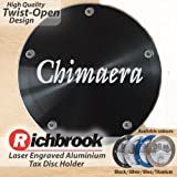TVR Chimaera Richbrook twist-off machined silver aluminium tax disc holder laser engraved also available in titanium
