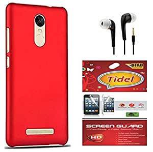 Tidel Ultra Thin and Stylish Rubberized Back Cover for Xiaomi Redmi Note 3 With Screen Guard & 3.5mm Handsfree Earphone