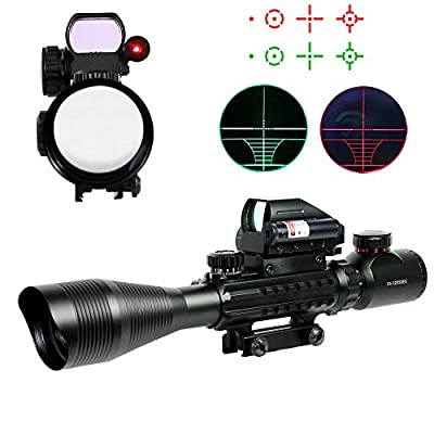 Chinoook 4-12X50 EG Tactical Rifle Scope with Holographic 4 Reticle Sight & Red Laser JG8 by Qinuke