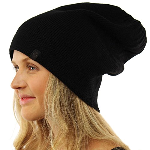 Men's Winter Solid Stretchy Long Big Knit Slouchy Beanie Skul Hat Ski Black XL (Extra Large Beanie Hat compare prices)