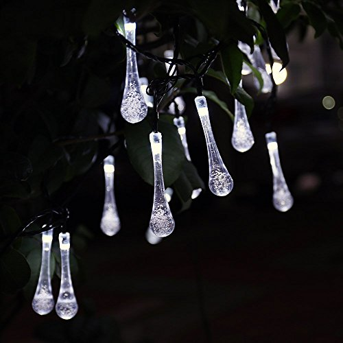 Xinban solar lichterkette 4 8m 20 led 8 modi wassertropfen for Moderne beetbepflanzung