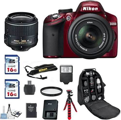 Deluxe-Value-Bundle-For-D3200-RED-DX-DSLR-18-55-VRII-Lens-32GB-In-Memory-Card-Reader-Deluxe-Camera-Backpack-Flexible-Tripod-UV-Digital-Flash-Wireless-Shutter-Remote-6pc-Starter-Kit