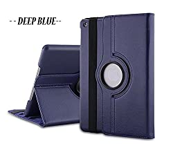 TGK 360 Degree Rotating Leather Case Cover Stand for iPad Mini Retina Display - Navy Blue