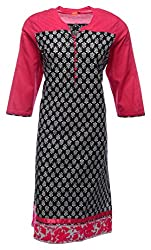 Zele Women's Cotton Straight Kurti (Z0005 Leaf_Multi-Colour_Large)
