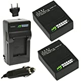 Wasabi Power Battery (2-Pack) and Charger for GoPro HD HERO3, HERO3+ and GoPro AHDBT-201, AHDBT-301, AHDBT-302