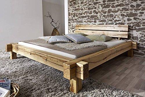 JANGALI Balkenbett #100 180x200cm Wildeiche natur massivholz günstig online kaufen