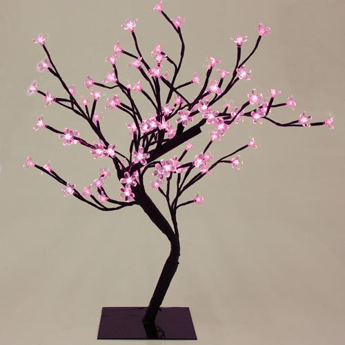"""23"""" Exotic Asian Fusion Led Lighted Bonsai Blossom Tree - Pink Lights"""