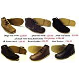 real suede retro mod desert boots in beige,black,dark brown and greyby Roamer