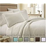 Southshore Fine Linens® 3 Piece Oversized Quilt Set - Bright White FULL / QUEEN