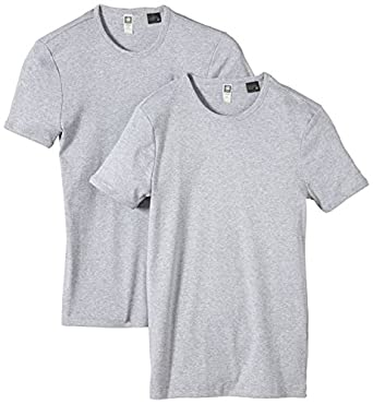 G-STAR Herren T-Shirt Base R T s/s 2-Pack, Gr. Small, Grau (grey htr 906)