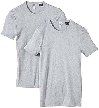 G-STAR Herren T-Shirt Base R 2er Pack, Gr. Small, Grau (grey htr 906)