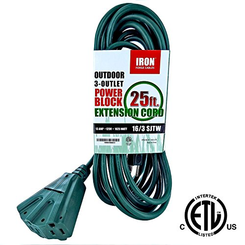 Iron Forge 16/3 SJTW Cable 3 Prong Extension Cord with 3 Electrical Power Outlet, 25 Feet (50 Amp Rv Extension Cord Reel compare prices)