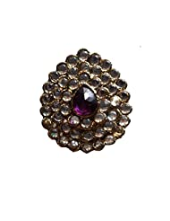 Unicorn Adjustable Purple And White Ethnic Fashion Ring With Kundan On Non-Precious Metal For Women