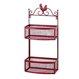 Rooster Double Stack Wall Baskets