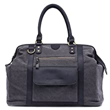 Kelly Moore Jude Canvas Unisex Multifunction Large Camera Weekend Shoulder Bag - Grey with Black Trim