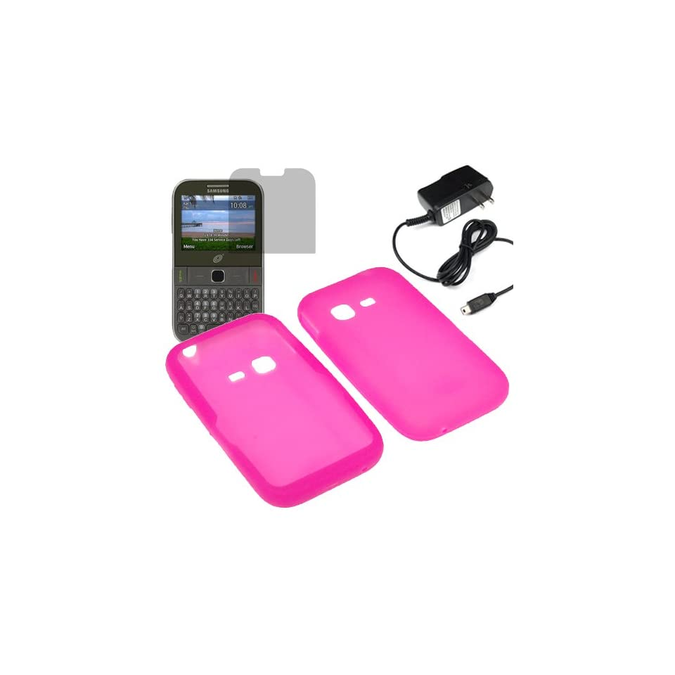 BW Silicone Sleeve Gel Cover Skin Case for Tracfone, Net 10, Straight Talk Samsung S390G+ LCD + Home Charger  Magenta Pink Cell Phones & Accessories
