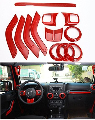 FMtoppeak 12pc/Kits Red ABS Auto Interior Parts Decoration Car Inner Dashboard Trim Cover for Jeep Wrangler 4 Door 2011-2016 (2013 Jeep Dash Cover compare prices)